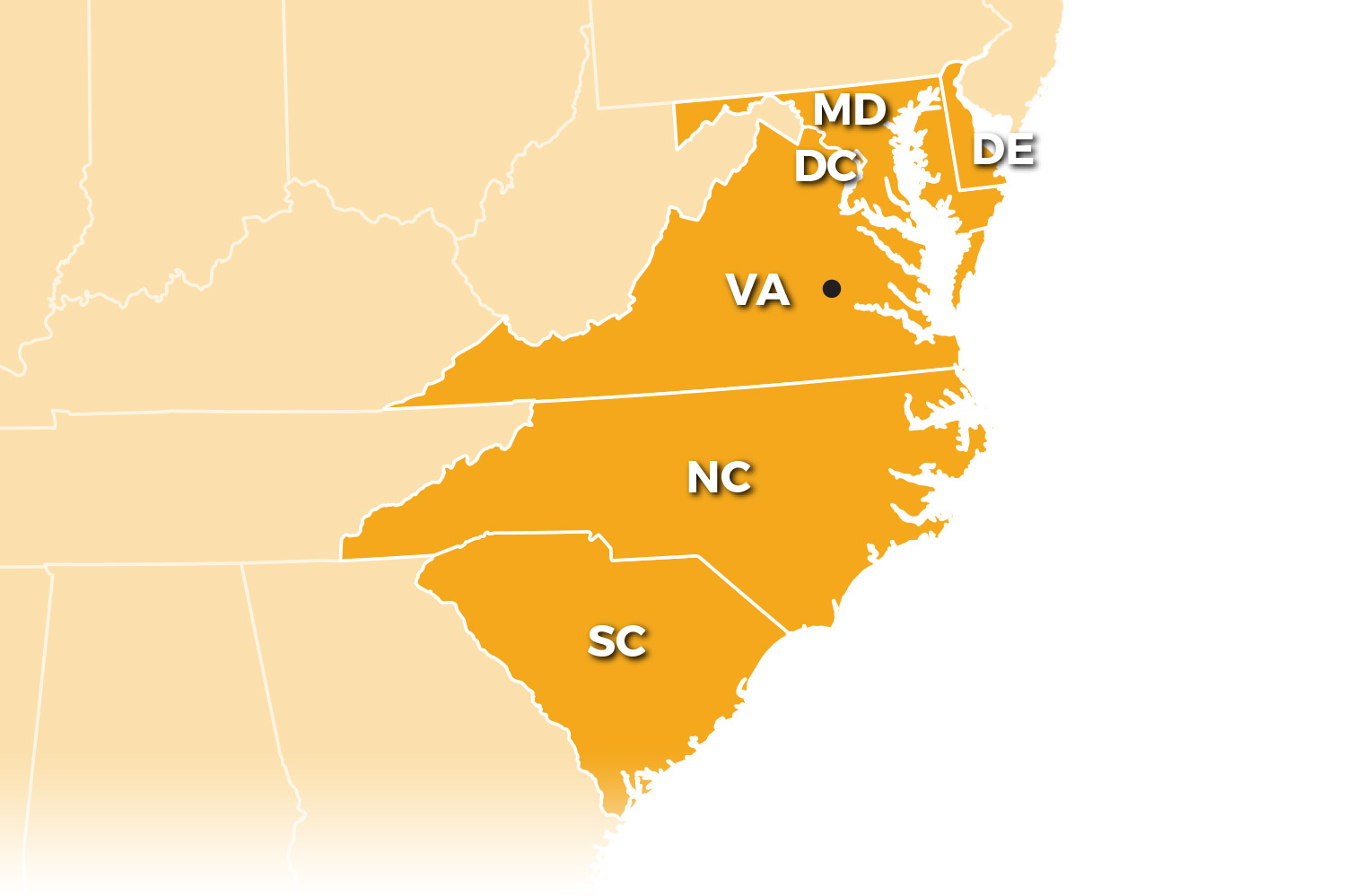Benchmark is available to provide service to Virginia, D.C., Maryland, North Carolina, South Carolina, and Delaware.