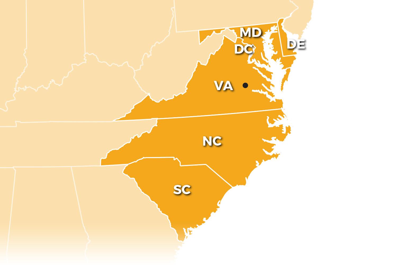 Benchmark is available to provide service to Virginia, D.C., Maryland, North Carolina, South Carolina, and Delaware.